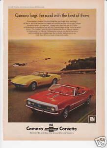 original GM VETTE AD CAMARO SS 1968 CHEVROLET CORVETTE STING RAY COUPE