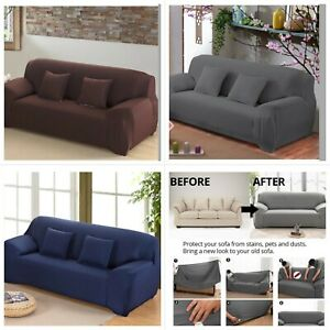 Sofa-Covers-Fit-Stretch-Protector-Soft-Couch-Cover-Throw-Grey-Navy-with-tuckers