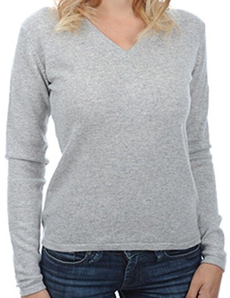 Balldiri 100% Cashmere Kaschmir Damen Pullover 2-fädig V-Ausschnitt hellgrau S