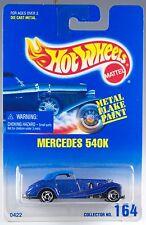 Hot Wheels No. 164 Mercedes 540K Blue Metal Flake SB's New On Card 1996