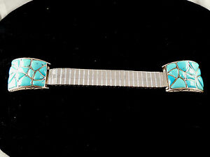 Beautiful Zuni Handmade Turquoise Watch Tips Set In Sterling Silver