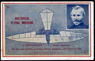 1912 John Stringfellow Historical Flying Machine Postcard No. 1