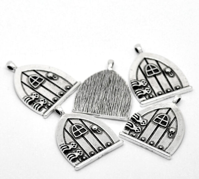 "10PCs Pop Silver Tone Fairy Wish Door Charm Pendants 35x27mm(1 3/8""x1 1/8"")"