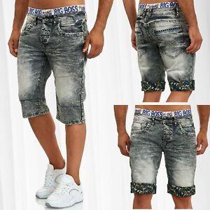 Herren-3-4-Jeans-Shorts-Sommer-Dehnbund-Bermuda-Hose-Used-Design-Print-Waschung