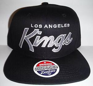 Los Angeles LA Kings Authentic Black Script Snapback NWT Hat Zephyr ... 1e2ca0aaf8d