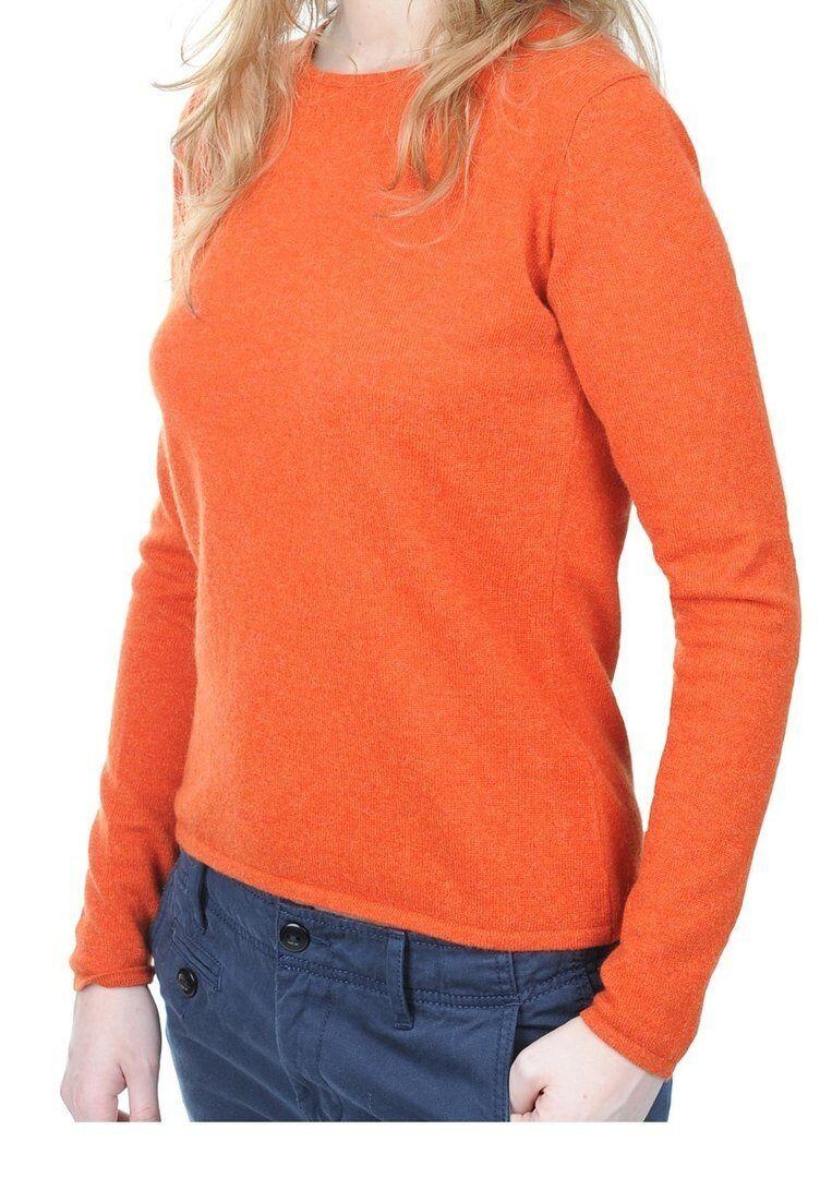 Balldiri 100% Cashmere Damen Pullover Rundhals 2-fädig Orange M