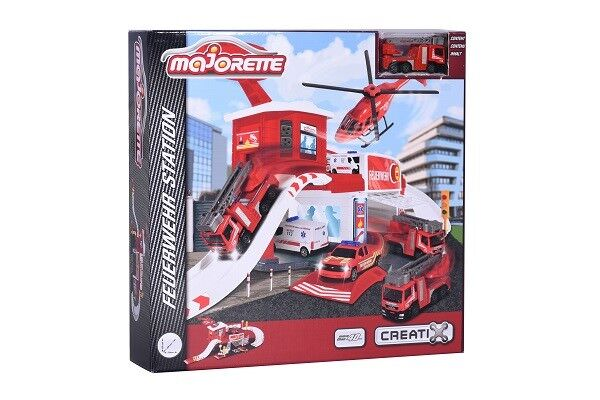 Majorette 212050014 - Creatix Playset Mit 1 Fahrzeug - Feuerwehr Station - Neu