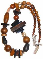 Chicos Castalia Wood Bead Carved Horn Necklace Silver Tone Chain LONG NWT
