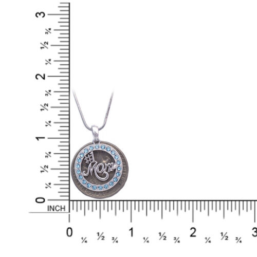 Number One #1 MOM Aqua Crystal Circle Necklace Birthday Gift for Mom Wife
