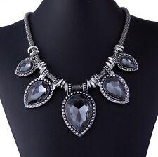 Black Graphite Crystal Vintage Statement Metal Chain Pear Stone Shape Necklace