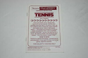 Tennis-Sears-Intellivision-Video-Game-Manual-Only