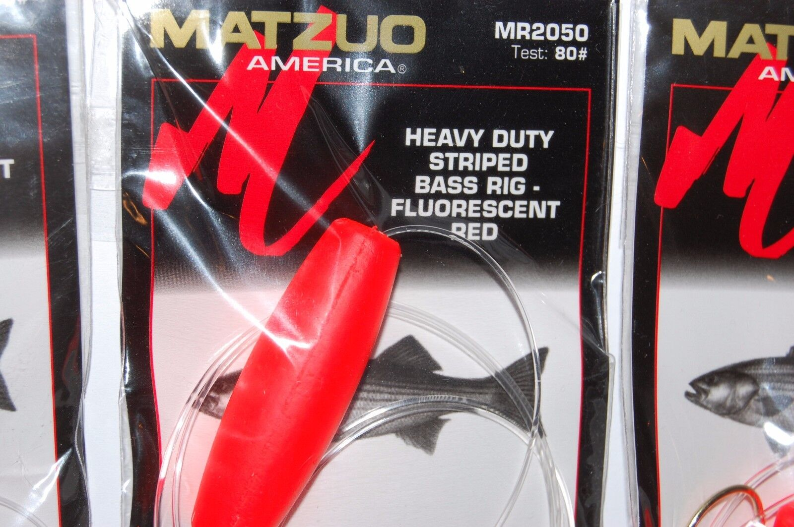 3 packs matzuo heavy duty striped bass rig stripers 80# mr2050 fluorescent red