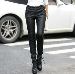 Women-039-s-Stylish-Motorcycle-Leather-Pants-Slim-Casual-Skinny-Elastic-Pencil-Pants