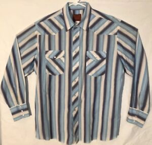 Rustler-Mens-Shirt-XL-Blue-Western-Pearl-Snap-Long-Tails-Rodeo-Stripes-Cowboy