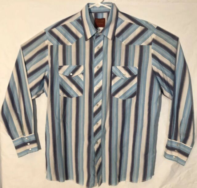 Rustler Mens Shirt XL Blue Western Pearl Snap Long Tails Rodeo Stripes Cowboy