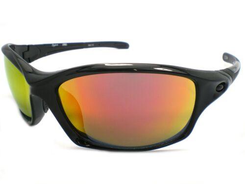 BLOC Wrap Sunglasses DAYTONA Jet Black Fire Red Mirror XR60 **WARRANTY**