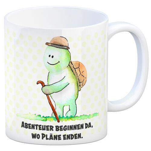 Kaffeebecher Schildkröte Kaffeetasse Abendteuer beginnen da wo Pläne enden