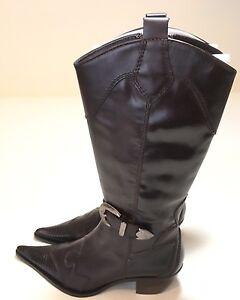 Steve-Madden-Cowboy-Boots-Women-039-s-Sz-7-Kobee-Brown-Leather-Buckle