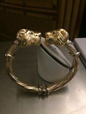 Solid 14 KT Yellow Gold Double Lion Head Matte & Shiny Cuff Bangle Bracelet NEW