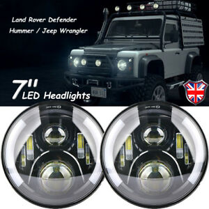 PAIR-7-034-LED-PROJECTOR-HALO-HEADLIGHT-E-MARKED-RHD-110-90-FOR-LAND-ROVER-DEFENDER