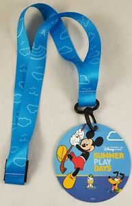 New Disney Store Summer Play Days Lanyard With Plastic Clip