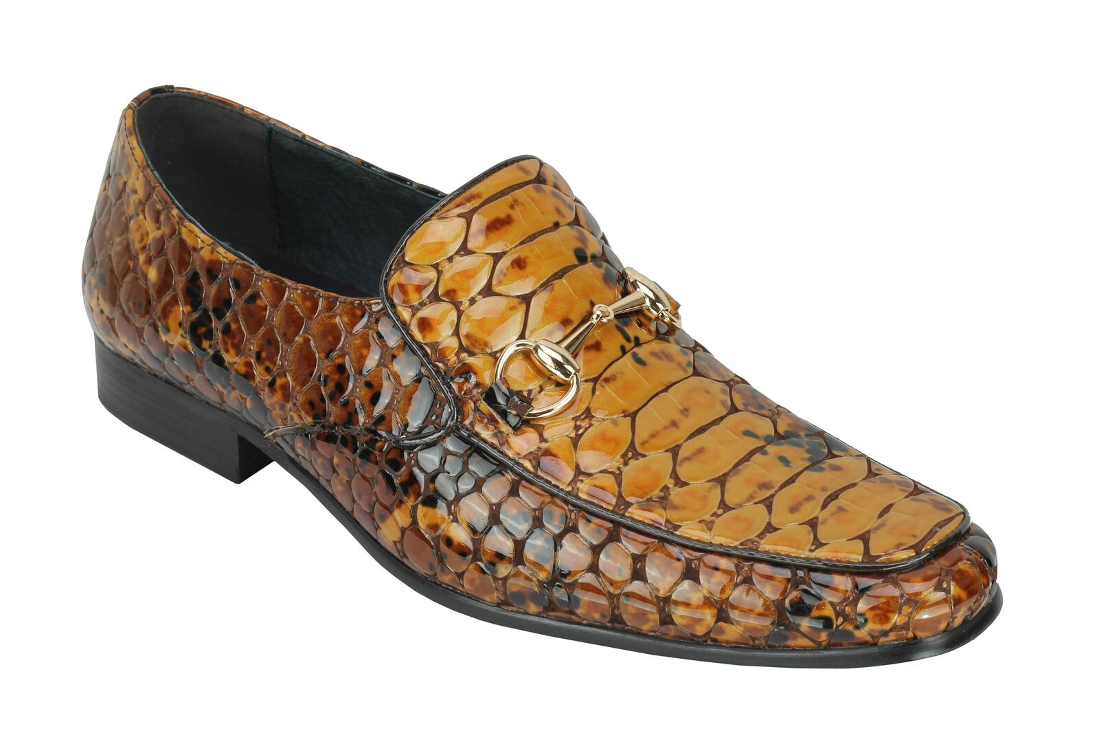 Mens Real Leather Croc Effect Gold Buckle Funky Smart Patent Party Slip on schuhe