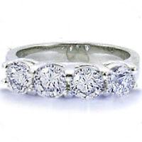 1.00 carat 4 Round Diamond Anniversary Wedding Ring Platinum Band GIA cert. F VS