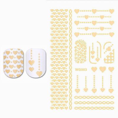 Gilding Water Decal Gold Heart Nail Art Manicure Transfer Sticker DIY WG003 Tool