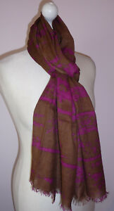 Brown-Fuchsia-Pink-Long-Scarf-Cotton-Blend-Abstract-Design-Wide-Fairtrade-Gift