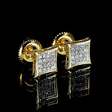New Men's Ladies Yellow 14K Gold Real Diamond Earrings Kite Studs Screwback