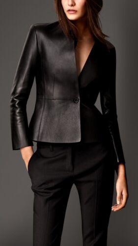 Women Genuine Lambskin Motorcycle Real Leather Slim fit Coat//Jacket for Biker