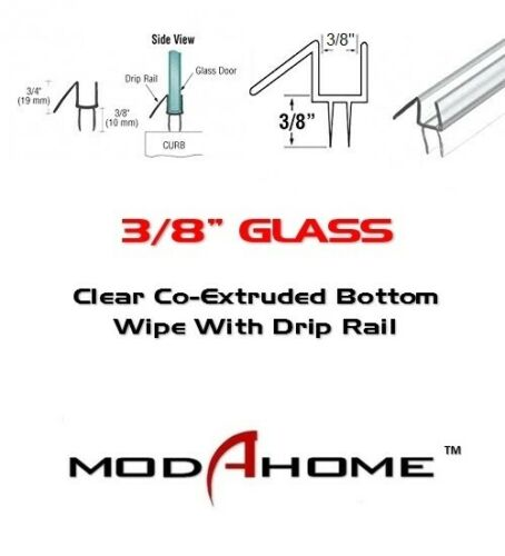 "FREE CUSTOM CUT 3//8/"" Frameless Shower Door Sweep Bottom Seal Wipe Drip Rail"