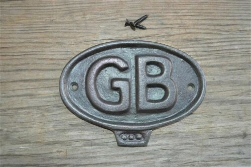 FANTASTIC CAST IRON VINTAGE STYLE GB GREAT BRITAIN METAL DOOR SIGN PLAQUE CB4