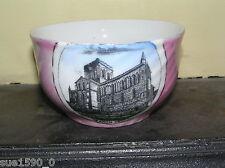 German Souvenir porcelain  'Hexham Abbey' transfer print swirl/spiral bowl vgc