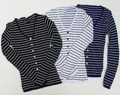 Vintage skinny rib jumper 1960s ladies knit top UNUSED Modern striped classic