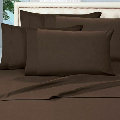 1000 TC BEST EGYPTIAN COTTON BEDDING ITEM SHEET SET//DUVET//FITTED CHOCOLATE SOLID