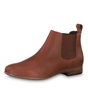 Details zu Tamaris Boots Stiefelette ankle Boots cognac Leder NEU chelsea boots sportlich