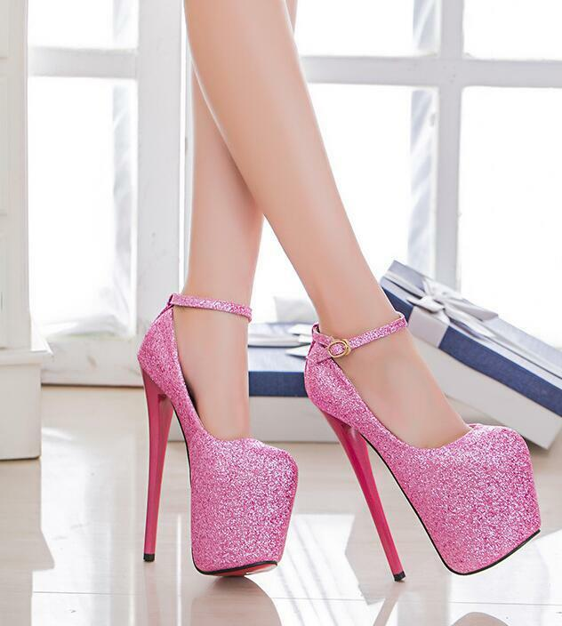 Para Mujeres Sexy Plataforma Brillo Con  Tiras Puntera Redonda zapatos  Con De Salón Tacón Aguja 20 Cm d5deb3
