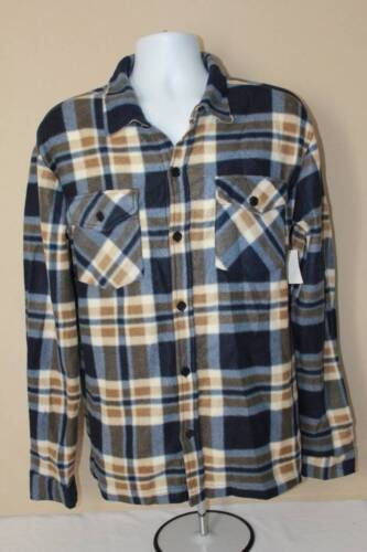 NEW Mens Button Up Long Sleeve Shirt Medium Blue Plaid Button Down Super Soft