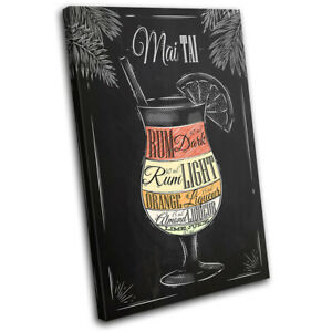 Mai-Tai-Cocktail-Alcohol-Bar-Vintage-SINGLE-CANVAS-WALL-ART-Picture-Print