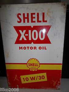 SHELL-X100-MOTOR-OILS-COLLECTABLE-12-034-x-8-034-RETRO-METAL-SIGN-30x20cm-GARAGE-SHED