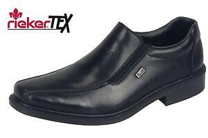 Details zu Rieker Herren Business Slipper Schwarz Schuhe Leder 14354 00 Tex Membran NEU