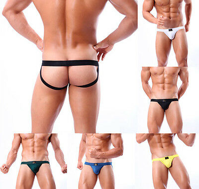 Sexy Mens Briefs Thong Jockstrap G-string Back Hole Underwear Boxer T-back S M L