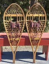 GREAT Vintage SNOWSHOES 41x14  w/ Leather BINDINGS Vintage Snow Shoes W@W!