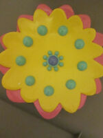 Sears Garden Grove Resin Sun Flower Bathroom Soap Dish Pink Yellow Blue