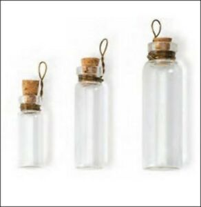 10pcs Clear Cylinder Glass Bottles Loop Charm Pendant Cork Stopper Vials
