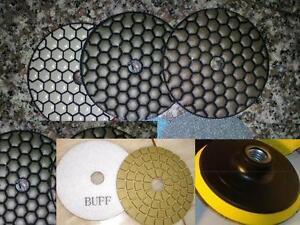 """Glaze Buff Aluminum Backer Granite Concrete 4/"""" Dry Diamond Polishing 16 PCS"""