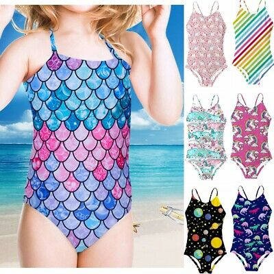 Girls Pink Mermaid Swimming Costume Childrens Swimwear