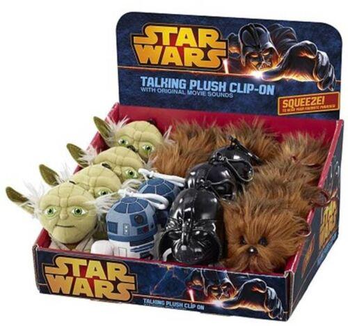 Peluche Star Wars Originali Portachiavi Parlanti Yoda Dart Fener R2-D2 Chewbacca