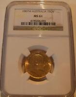 Australia 1907M Gold Sovereign NGC MS-61 Melbourne Mint